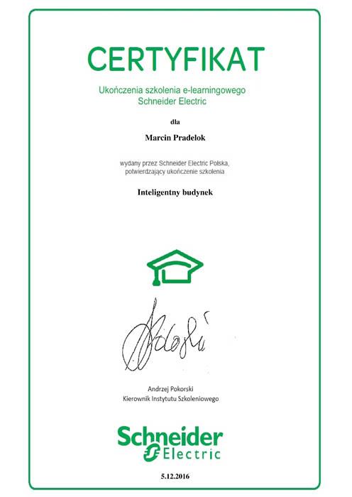 Certyfikat - Inteligentny budynek